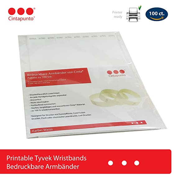 photo relating to Printable Wristband Sheets known as Cinta Printable Wristbands - 100 ct. pack - Laser Printer