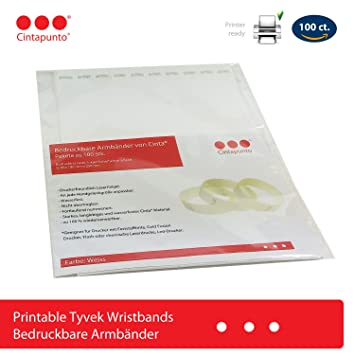 photograph about Printable Tyvek Wristbands referred to as Cinta Printable Wristbands - 100 ct. pack - Laser Printer