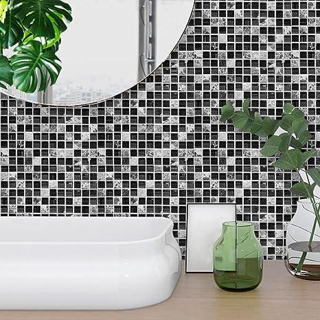 STRIR 10pcs Decorativos Adhesivos Para Azulejos Pegatina de pared,diseño de  Líneas de mármol, efecto 3d, autoadhesivo, Para cuarto de baño y cocina, ...