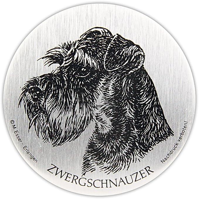 Schecker Selbstklebende Silberfarbene Metallplaketten Zwergschnauzer Wetterfest Autoaufkleber Türschild Esser Haustier