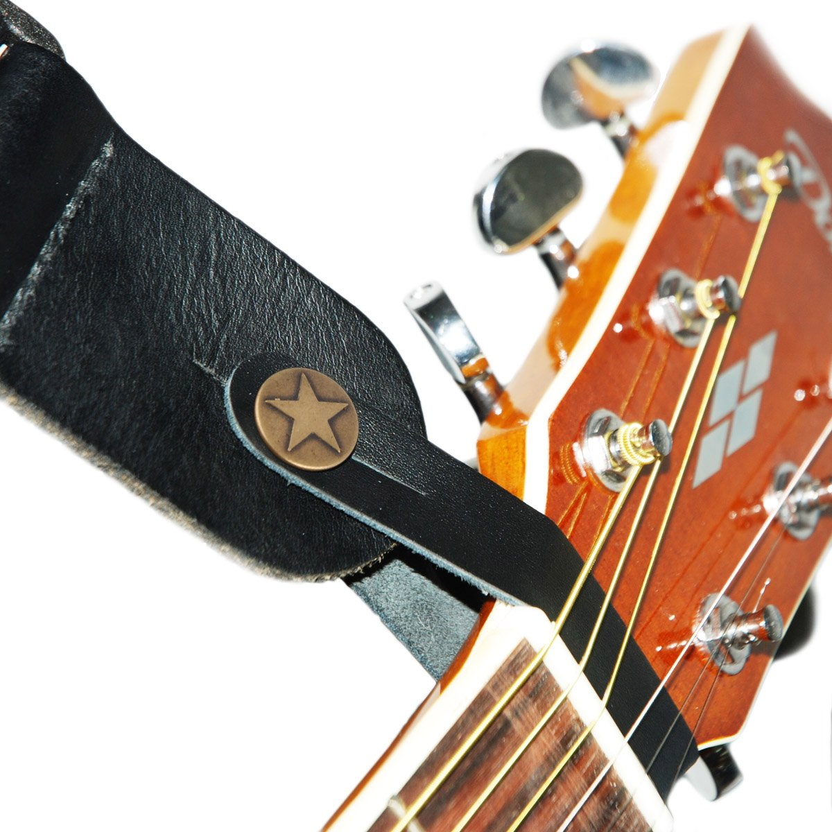 Acoustic Guitar Leather Strap Hook in Black AtoG Music BCG325951