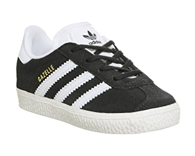 Adidas Originals Baskets Bébé Gazelle I Clear Onix/red/gold Metallic Taille 19