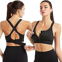 Wireless Supportive Sports Bra, Adjustable Front Zip Sports Bra, Women Post-Surgery Front Closure Sports Bra (S,Black)