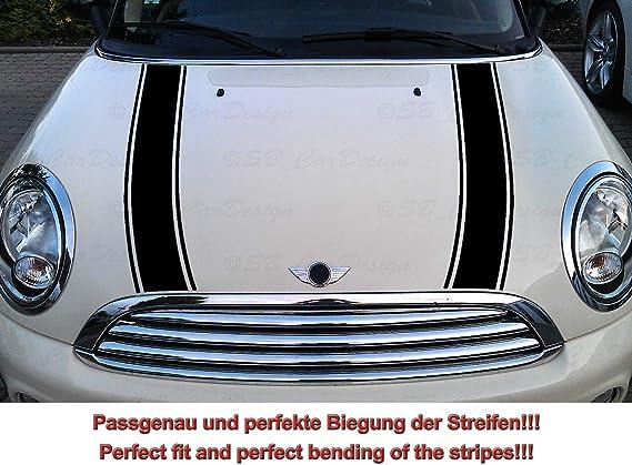 Streifen Stripes Aufkleber Motorhaube Für R55 R56 R57 R58 R59 Mini Cooper One Works Jack Schwarz Design 2 Auto