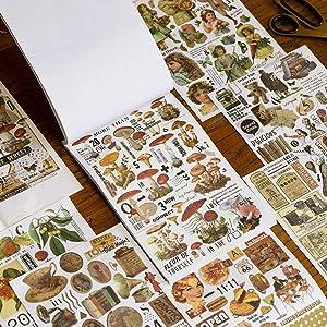 Vintage Washi Stiker Set 50 Sheets Retro Stuff Rose Plant Animal Mushroom Decorative Adhesive Stickers for Scrapbooking Journaling Planners Art Project DIY Crafts