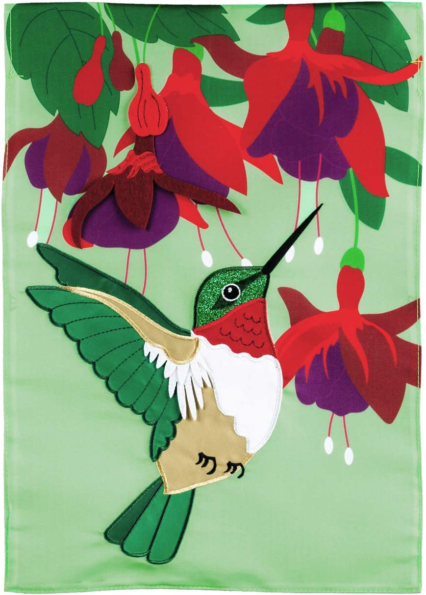 Evergreen Flag Hummingbird and Fuchsia House Applique Flag 28 x 44 Inch Double Sided Durable Outdoor Flag for Homes and Gardens