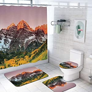 Apartment Decor 69x84 inch Shower Curtain Sets,Scenic Western American Mountains on The Valley with Snowy Peaks at Sunset Time Landscape Toilet Pad Cover Bath Mat Shower Curtain Set 4 pcs Set,Multi