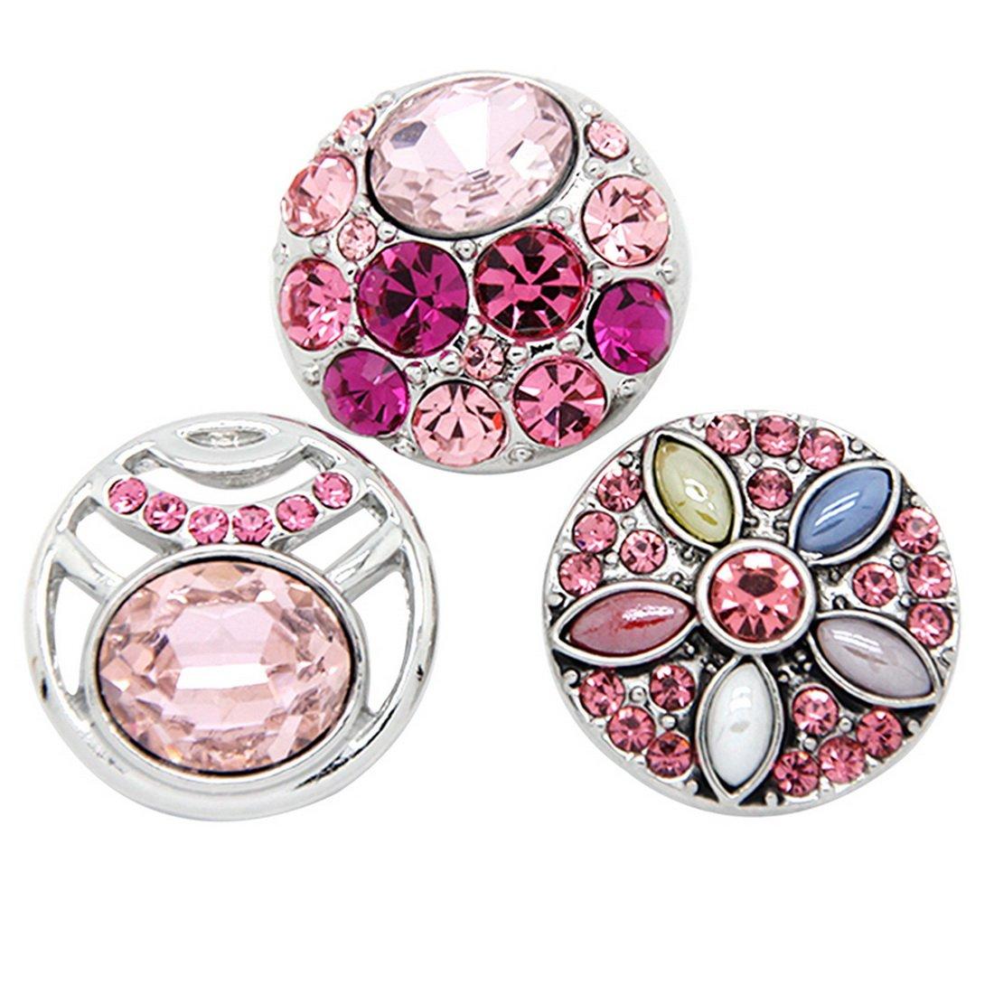 Souarts Mixte Strass Rose Rond Boutons à Pression pour Bracelet Collier 5.5mm 3PCS Hellocrafts A000A85P5