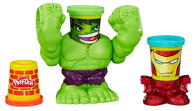 Amazon.com: Play-Doh Marvel smashdown Can-Heads con Hulk ...