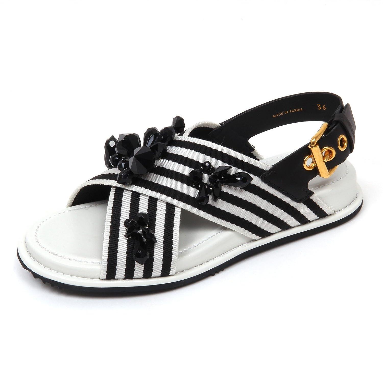 Car Shoe D0530 Sandalo Donna Scarpa pietre Nero/Bianco Sandal Shoe Woman