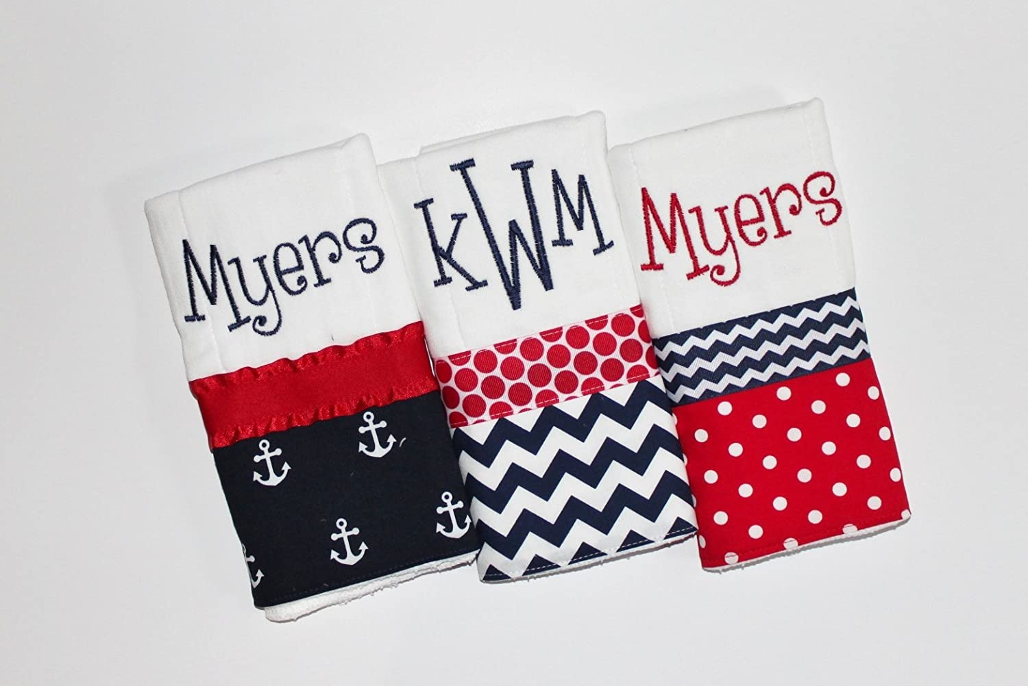 3 Personalized Baby Boy Burp Cloth Set in Navy and Red - Anchors, Polka Dots and Chevron