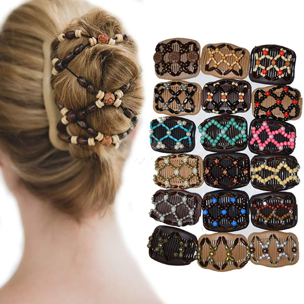 Zhouba vintage perline elastico donna Hair styling double Side Magic pettine clip Headwear Decor