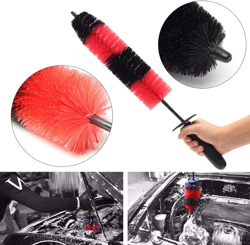 Sanwood Car Auto Brush Soft Truck Motor Car Wheel Wash Tire Rim Cleaning Wash Tool Black+Red