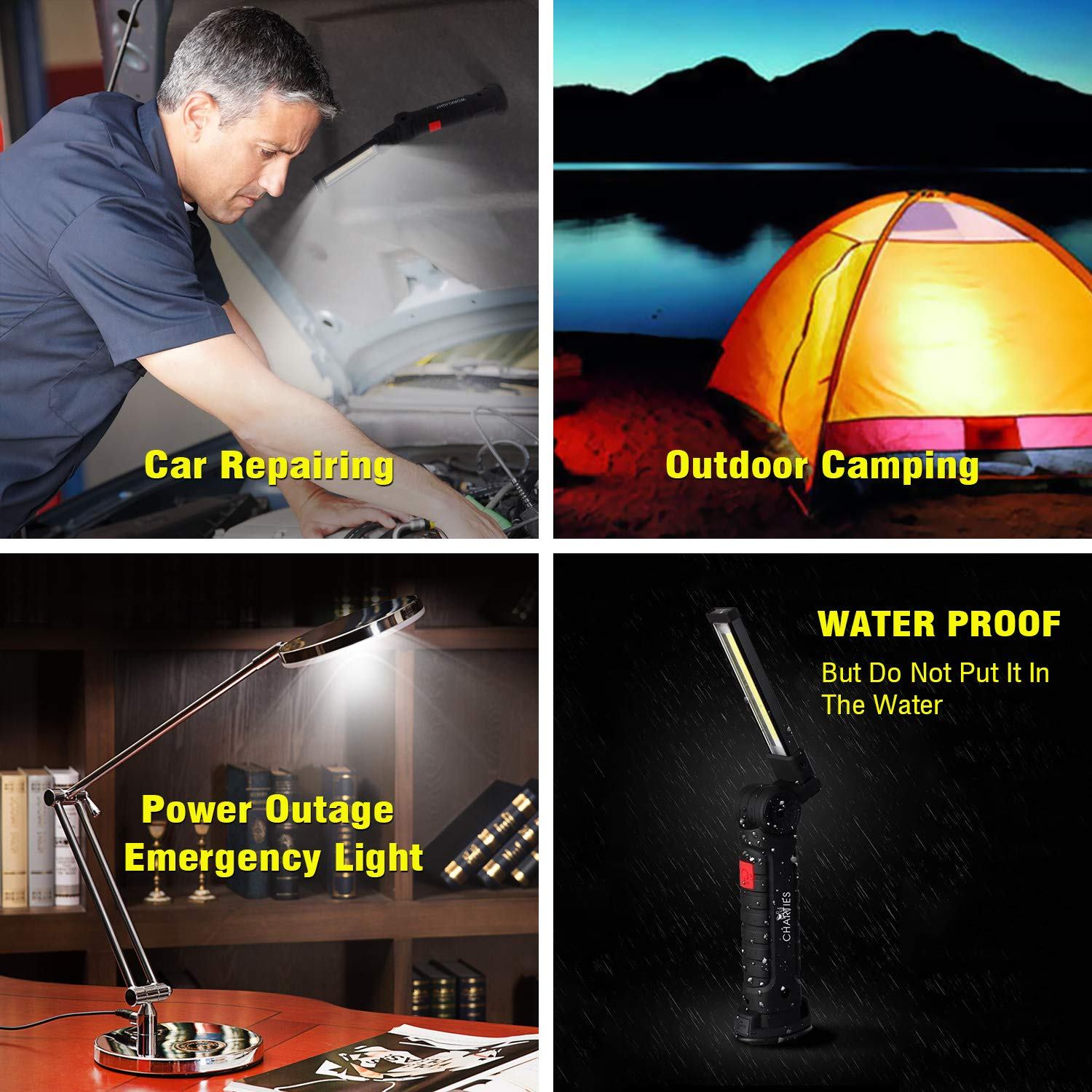 LED Work Light Rechargeable with Magnetic Base & Hook, Collapsible COB Flashlight-Inspection Lamp with 5 Lighting Modes 360°Rotate for Car Repairing, Home Emergency Light and Outdoor Camping(Large)