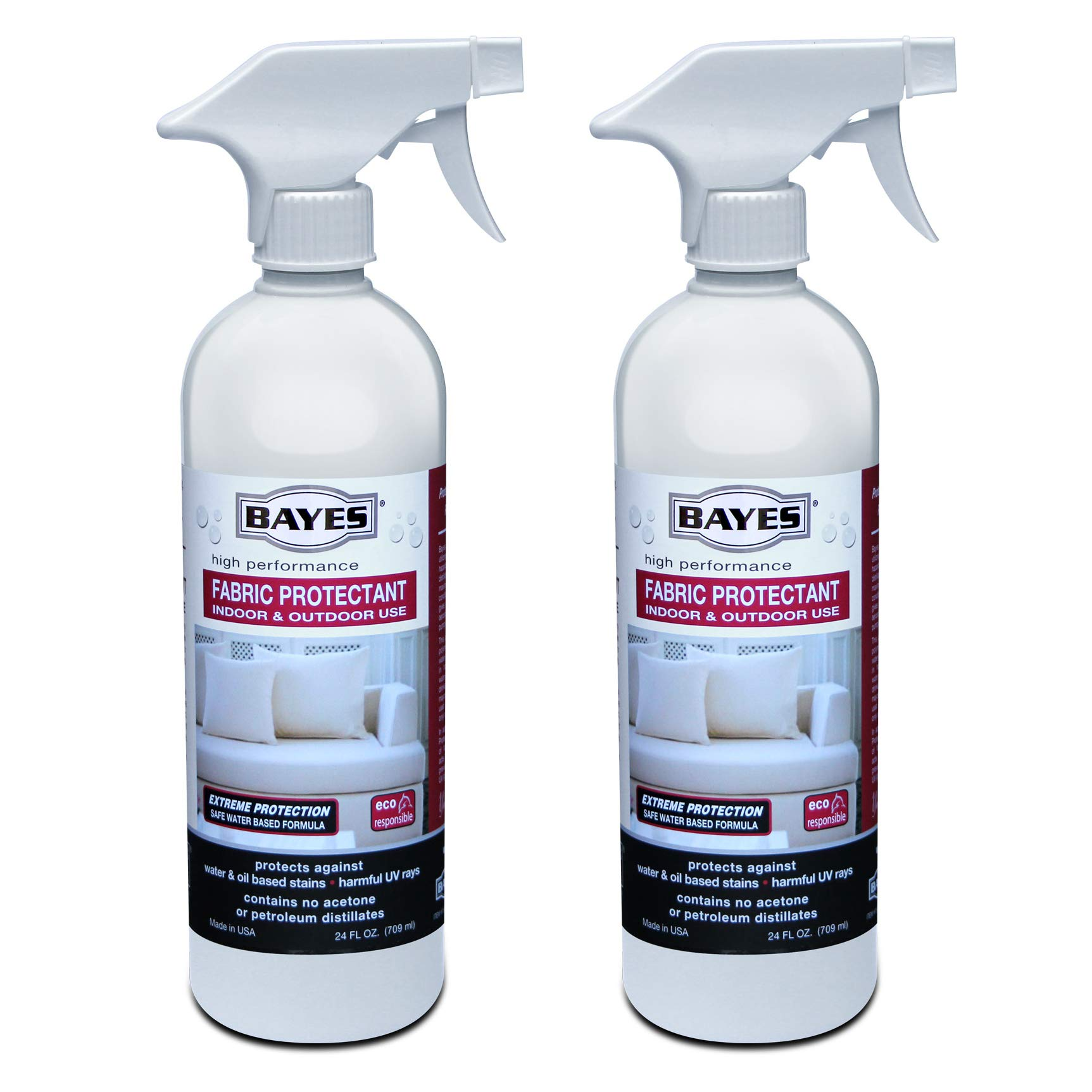 Bayes High-Performance Fabric Protectant Spray for Indoor and Outdoor Use - Water, Stain, and UV Rays Repellent - 24 oz, 2 Pack by Bayes
