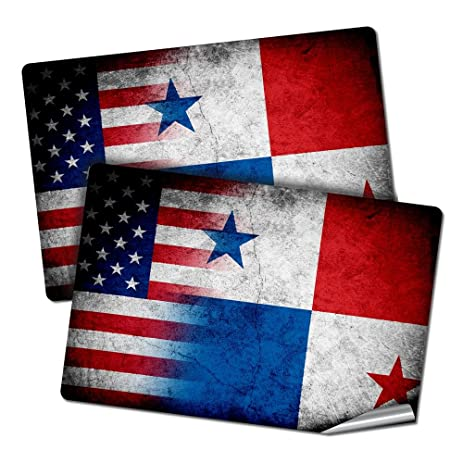 Two 2x3 decals stickers with flag of panama rustic w usa