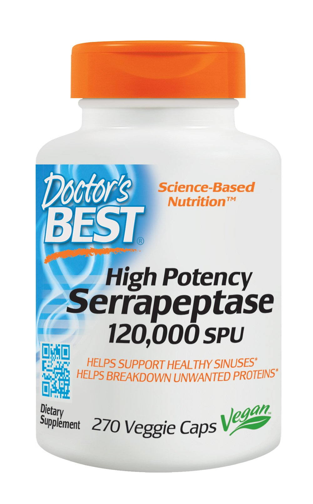 Doctor's Best High Potency Serrapeptase, Non-GMO, Gluten Free, Vegan, Supports Healthy Sinuses, 120,000 SPU, 270 Veggie Caps