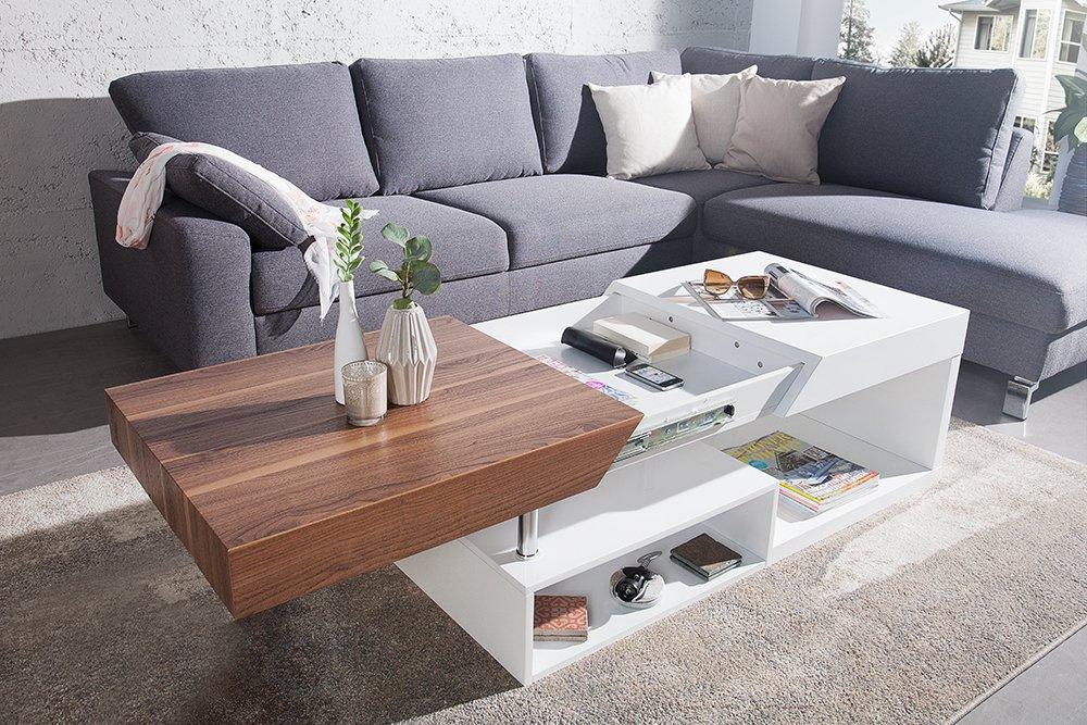 Moderner Design Couchtisch Hope Original Mca Walnuss Hochglanz Weiß