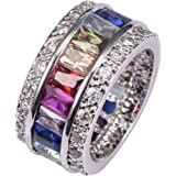 Morganite Blue Topaz Garnet Amethyst Ruby Pink Kunzite Aquamarine 925 Sterling Silver Ring Size M to X 1/2