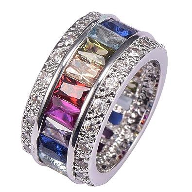 Morganite Blue Topaz Garnet Amethyst Ruby Pink Kunzite Aquamarine 925 Sterling Silver Ring Size M zi3Yx