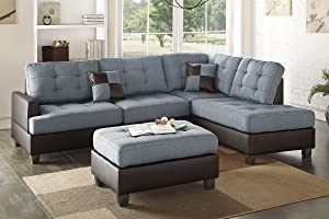 Poundex Bobkona Matthew Linen-Like Polyfabric Left or Right Hand Chaise SECTIONAL Set with Ottoman in Grey
