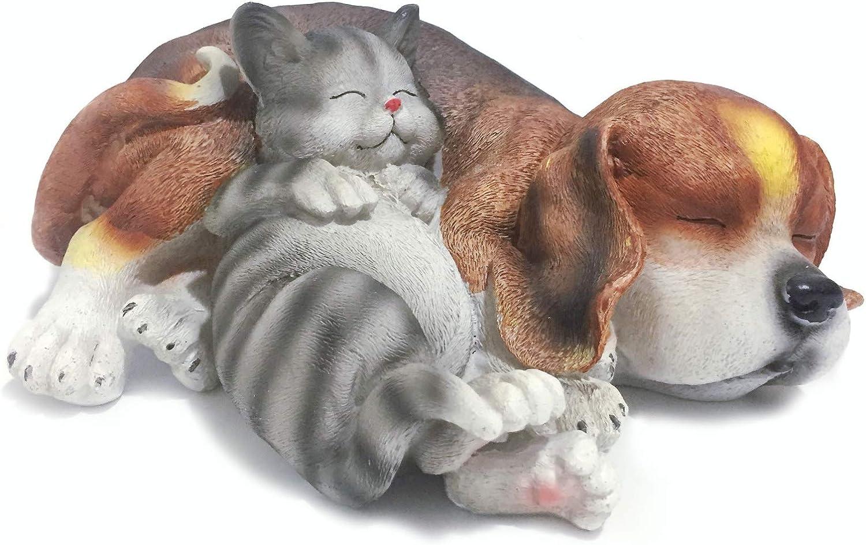 Posee Resin Outdoor Animal Decoration Sleeping Lazy Cat Dog Garden Statue