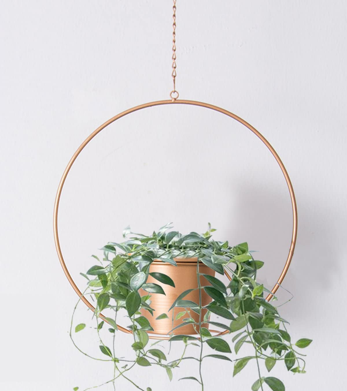 RISEON Boho Gold Metal Plant Hanger,Metal Round Hanging Planter, Modern Planter, Mid Century Plant Holder, Minimalist Planter for Indoor Outdoor Home Decor