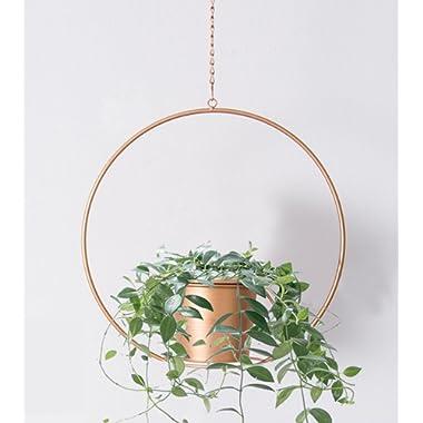 RISEON Boho Gold Metal Plant Hanger,Metal Round Hanging Planter, Modern Planter, Mid Century Plant Holder, Minimalist Planter for Indoor Outdoor Home Decor