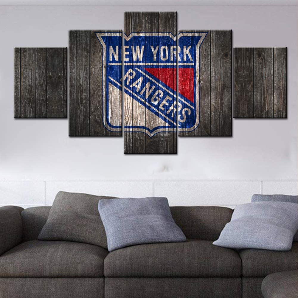 TUMOVO New York Rangers Wall Art National Hockey League Canvas Prints PaintingThe USA Ice Puck Team Art Decor Wall Poster Man's Bedroom Decoration Picture Wooden Framed Ready to Hang(60Wx32H inches)