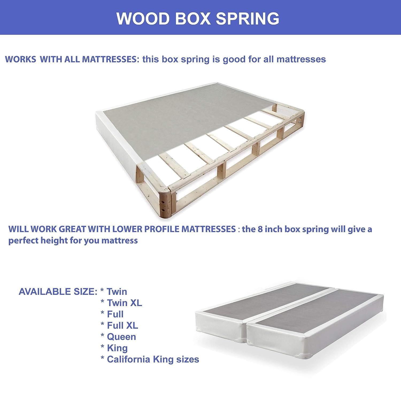 King Continental Sleep Trophy 8-Inch Fabric Stretch Knit Split Box Spring Grey//White