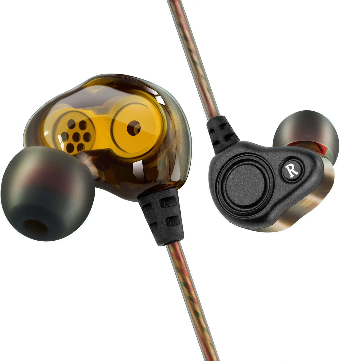 yellow and black BYGZB noise-cancelling earbuds on a white background