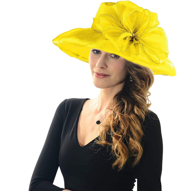 Acecharming Women's Summer Party Kentucky Derby Church Wide Brim Floral Organza Hat (Yellow)