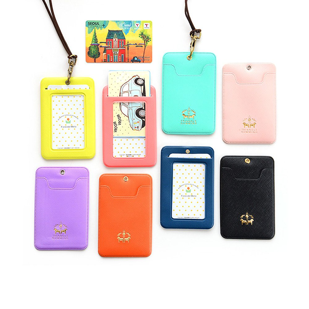Zhi Jin Candy Color Badge Bus Subway Card Holder Lanyard Horse Credit Card Sleeves Protectors Organizer Case Office School Pack of 5 Orange