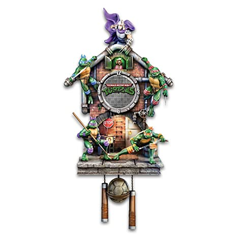Bradford Exchange Teenage Mutant Ninja Turtles Illuminated Cuckoo Clock Plays TV Theme Song