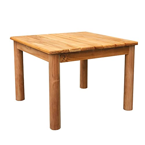 Terra Teak Wood Side Table for Outdoor Patio, Bathroom or Indoor 20 L x 20 W x 15 H