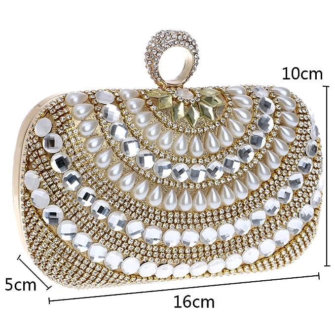 Eastever Pearl Dinner Bag Fashion Mini hombro bandolera bolso nupcial vestido bolso de noche embrague bolso - oro: Amazon.es: Ropa y accesorios