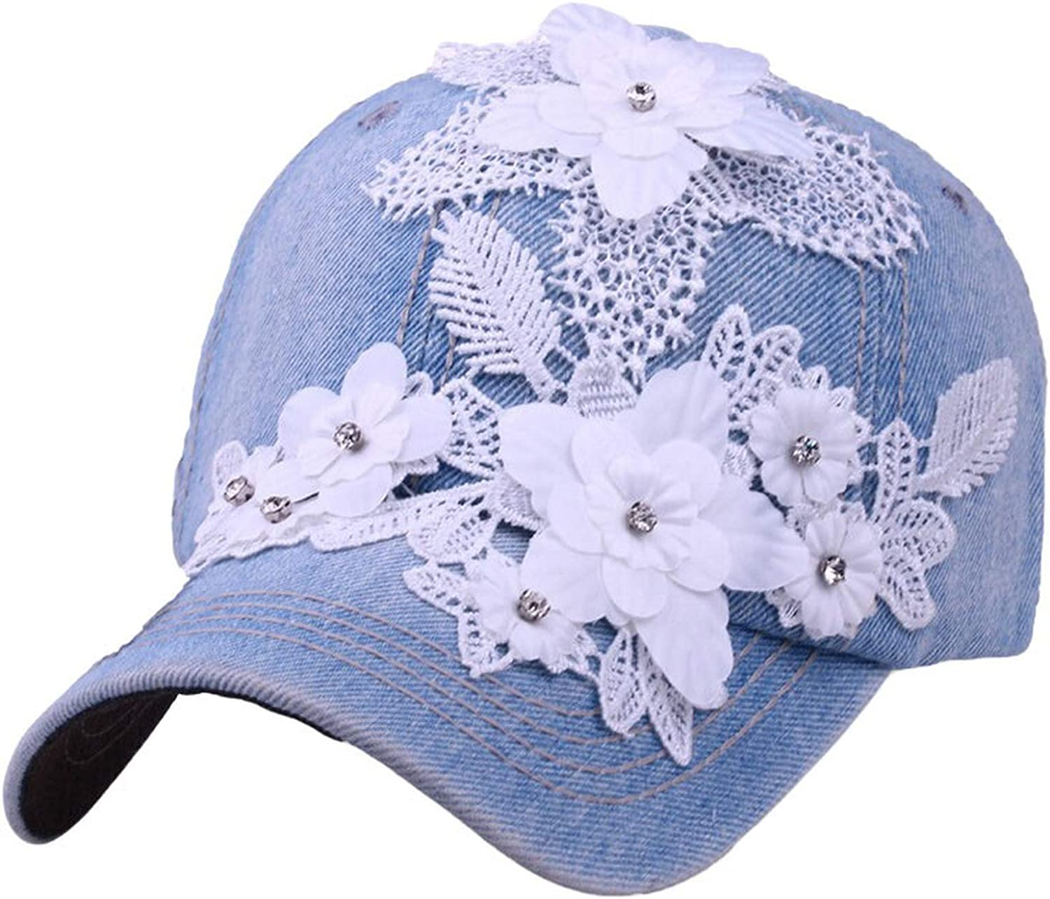 Women Men Adjustable Hat Flower with Lace Cap Rhinestone Denim Baseball Mesh Cap Hats Casquette