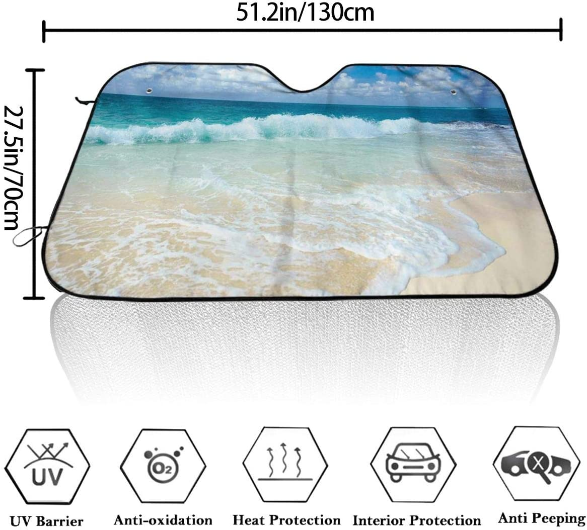 For Car SUV Truck Universal Fit 51 X 27.5 Inches Beach With Foamy Waves On Empty Sea Shore Holiday Theme Serene Coastal Windshield Sun Shade Cover Visor Protector Sunshades Covers Awning Shades
