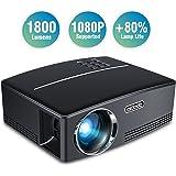 Proiettore TOQIBO 1800 Lumen, Supporto 1080P, Interfaccia VGA/HDMI/AV/USB/TF, Connessione a TV Stick/Console Giochi/Telefono (Tablet)/Laptop/MacBook/TV, con cavo HDMI e AV