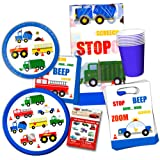 Cars and Trucks Party Supplies Ultimate Set -- Birthday Party Decorations, Party Favors, Plates, Cups, Napkins and More (Things That Go Party Supplies)