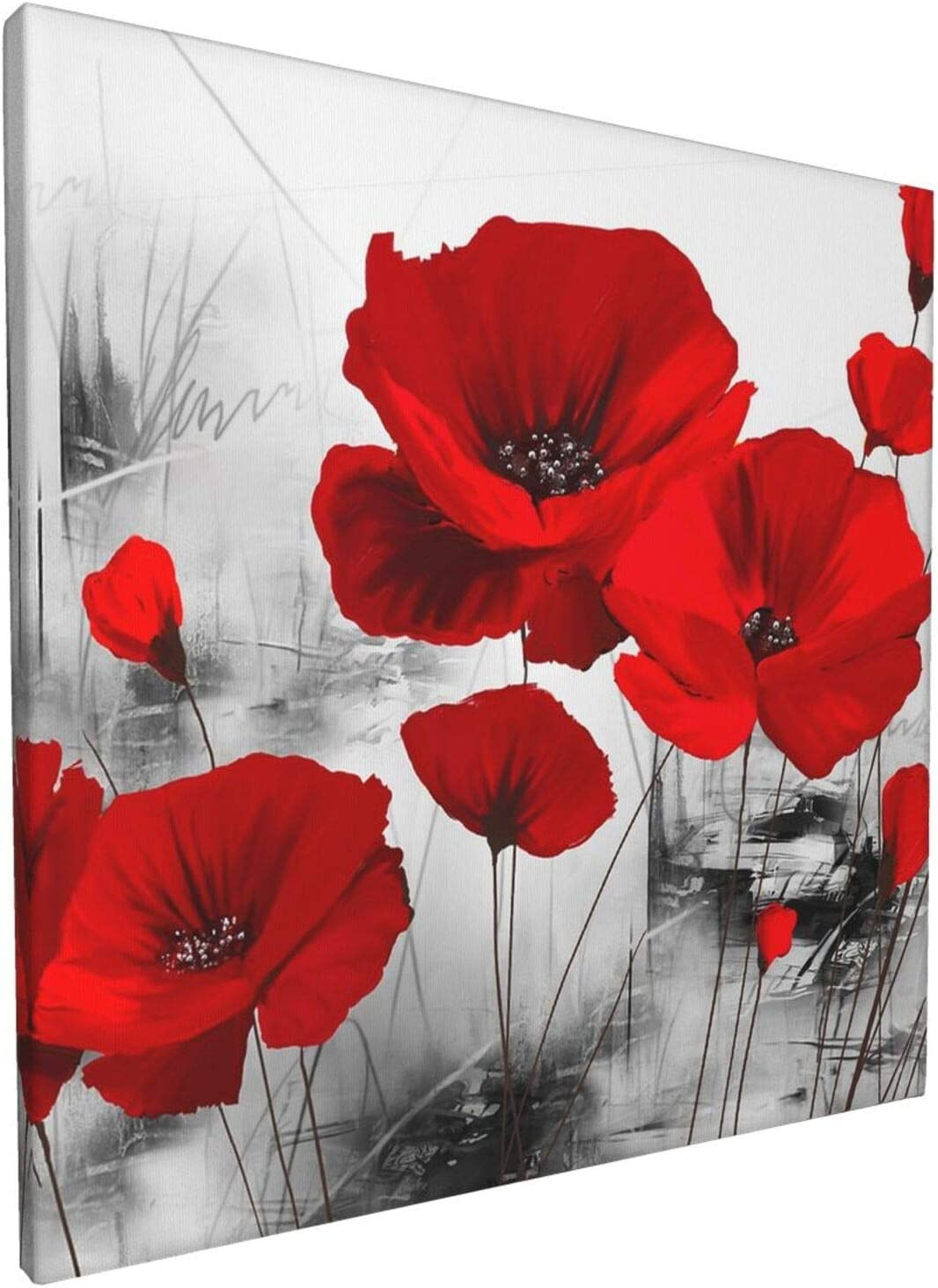 Kingsleyton Poppy Wall Art Elegant Red Flower Plant decor Abstract Poppies Canvas Painting Picture for Living Room bathroom Wood Frame Easy to Hang 12x12 inchs