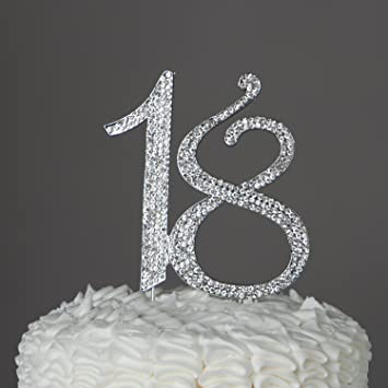 Birthday Crystal Cake Toppers Sparkling Bling 18th Caketop