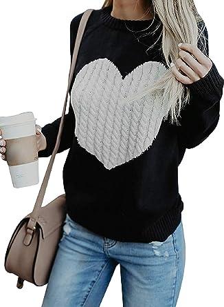 UMIPUBO Sudadera para mujer con estampado de amor, jersey de punto con capucha, informal, cálido, otoño, invierno, moda de manga larga, blusa de ...