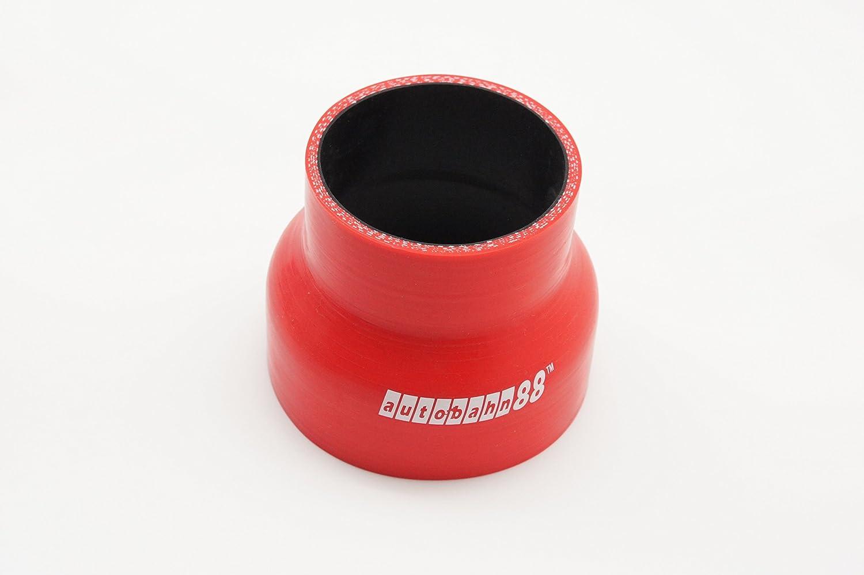 76mm riduttore accoppiatore 3-Ply rosso 4mm spessore della parete 0.16 45 a 51mm lunghezza 3 autobahn88 Tubo flessibile universale Silicone automobilistico ID 1.75 a 2