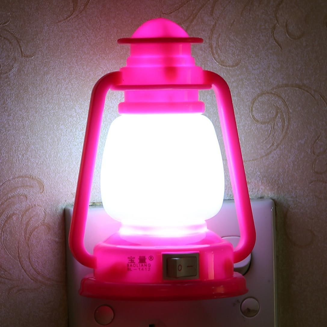Retro Ship Creative Nightlight,Highpot Romantic Colorful LED Light Bedside/Bathroom Lamp Wall lamp Home Decor (Hot Pink)