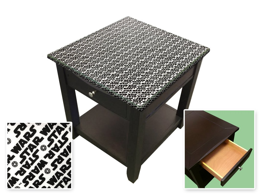 New Cappuccino / Espresso Finish End Table with a Star Wars Theme and a Glass Table Top Surface!