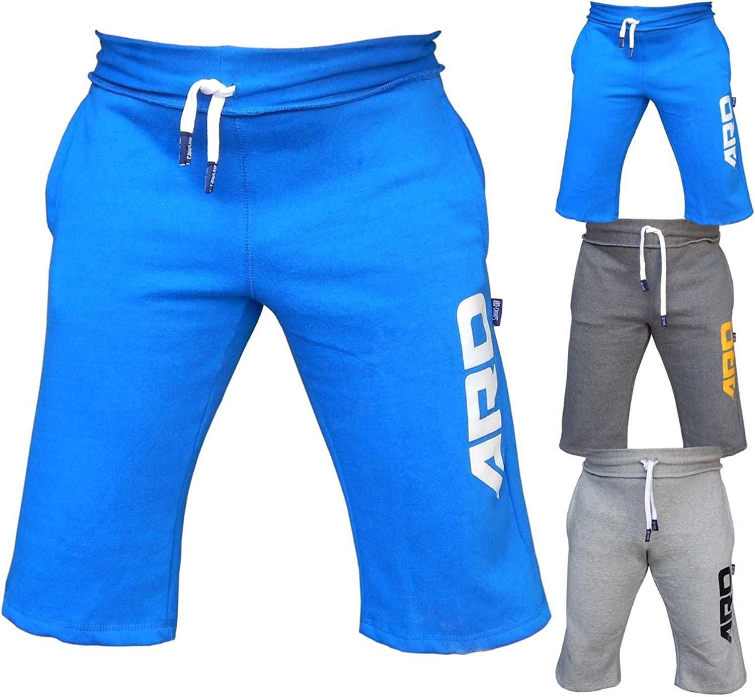 4Fit Mens Cotton Fleece Shorts Jogging Casual Home Wear Martial Art Jogger Navy