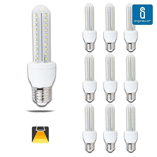 6 opinioni per Aigostar- Confezione da 10 Lampadine LED B5 T3 2U, 8W, Attacco Grande E27, Luce