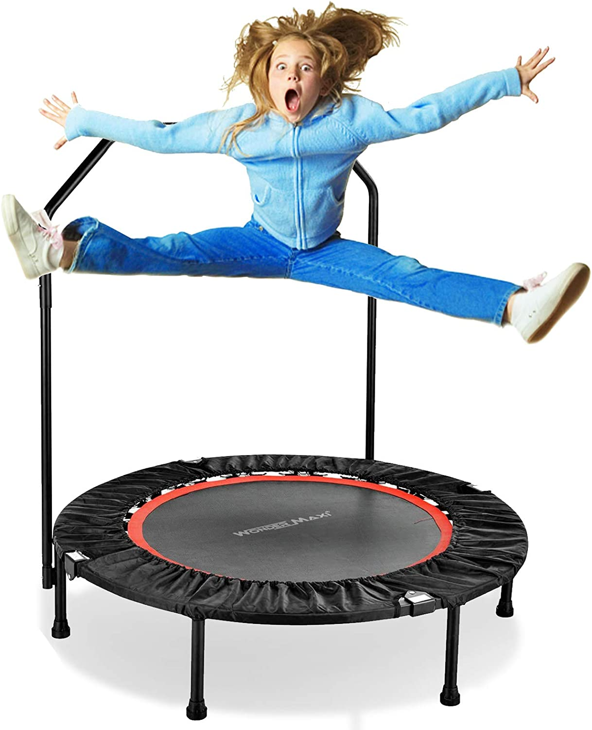 Wonder Maxi Foldable Fitness Trampoline, 40 Inch Mini Rebounder Trampoline with Handrail and Safety Pad for Kids Adults Indoor Outdoor Workout Cardio Exercise