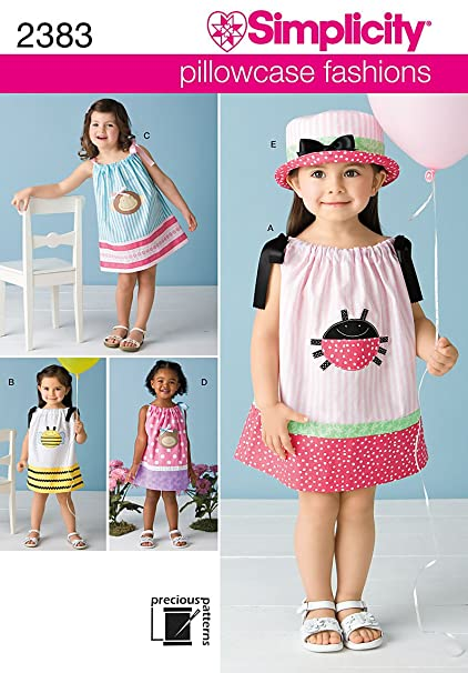 Amazon.com: Simplicity Sewing Pattern 2383 Toddlers\' Dresses, A (1/2 ...